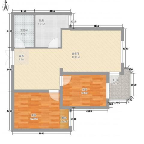 沧海苑2室1厅1卫1厨87.00㎡户型图