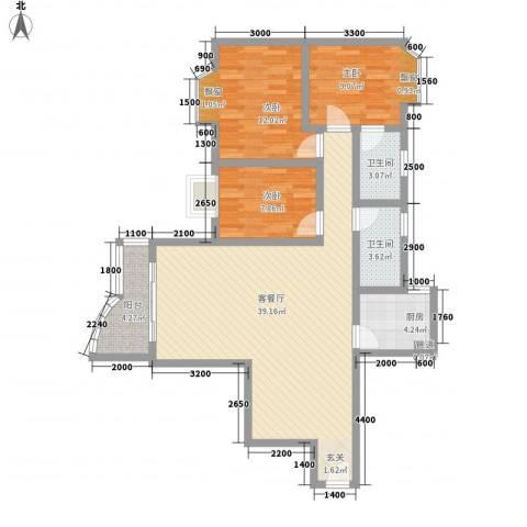 颖康阁3室1厅2卫1厨110.00㎡户型图