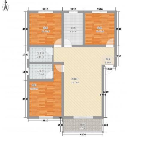 海滨花园3室1厅2卫1厨125.00㎡户型图