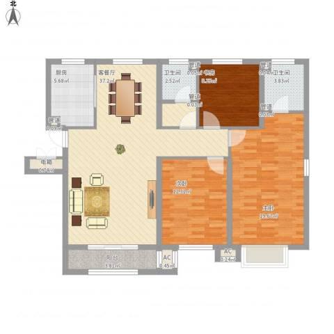 中冶蓝城3室1厅2卫1厨136.00㎡户型图