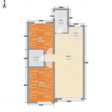 唐轩首府2室1厅1卫1厨64.79㎡户型图