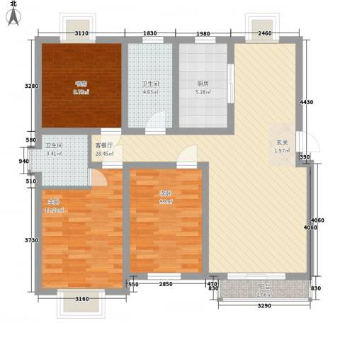 阳光世纪花园3室1厅2卫1厨108.00㎡户型图