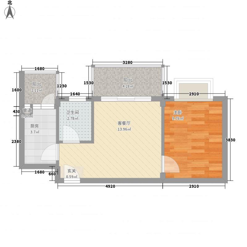 闰垣国际53.20㎡B3户型1室1厅1卫