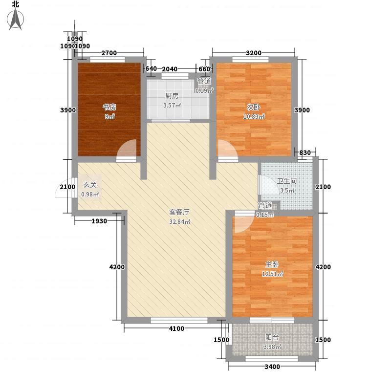 紫城・秦皇半岛114.63㎡E-1户型3室2厅1卫1厨