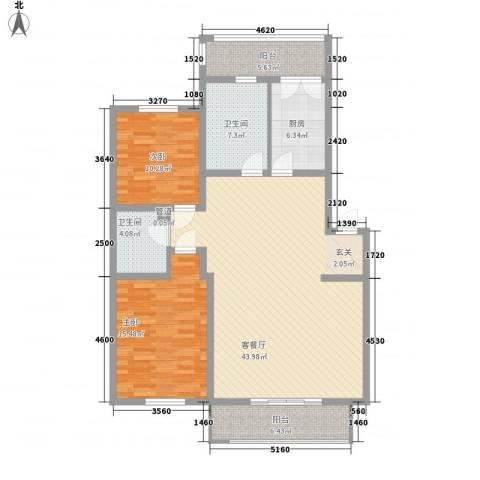 久业佳园2室1厅2卫1厨132.00㎡户型图