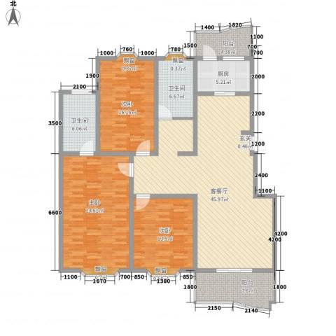 九九花园3室1厅2卫1厨156.00㎡户型图