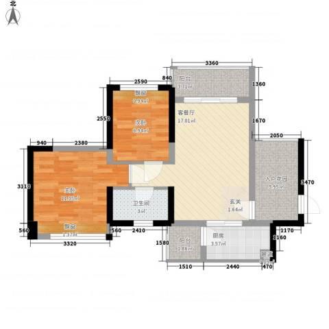 星河湾畔2室1厅1卫1厨78.00㎡户型图