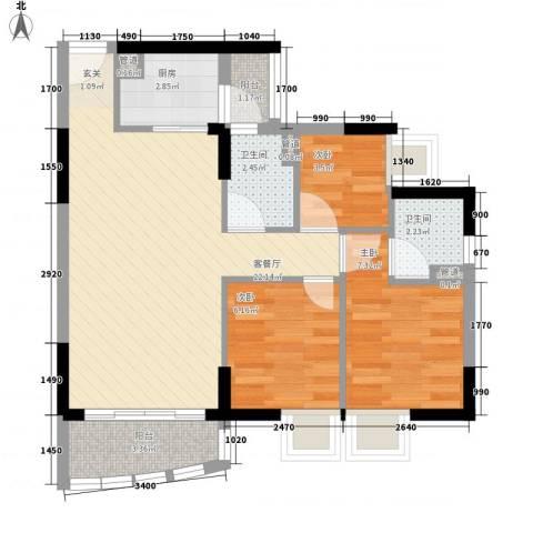 海富花园四期3室1厅2卫1厨75.00㎡户型图