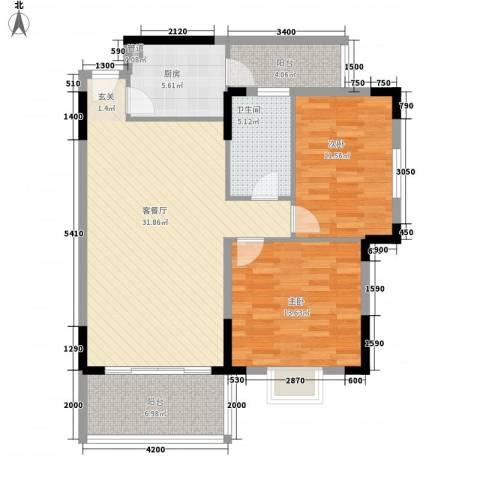 大福苑2室1厅1卫1厨111.00㎡户型图