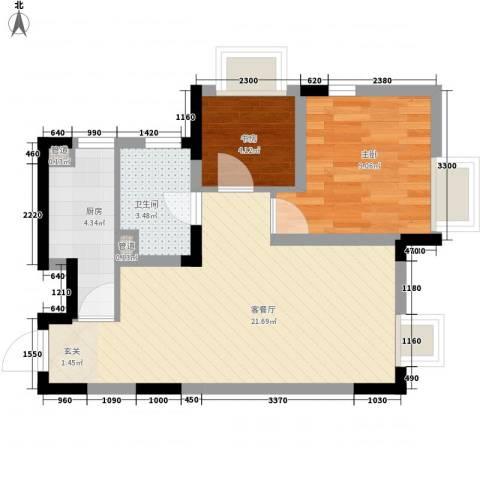 保利溪湖林语三期2室1厅1卫1厨59.00㎡户型图