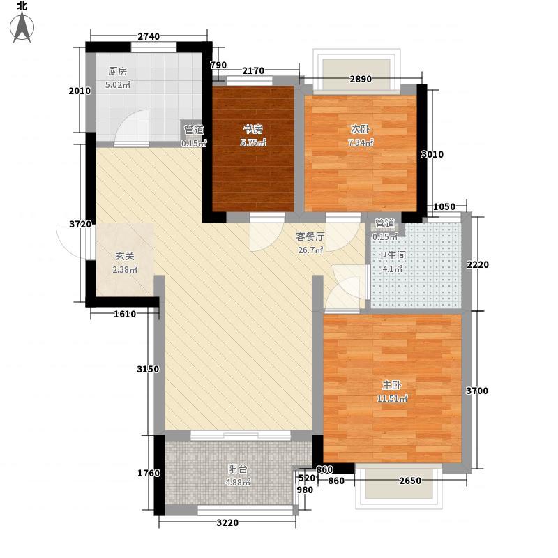 紫廷名苑一期6#、9#楼标准层D户型