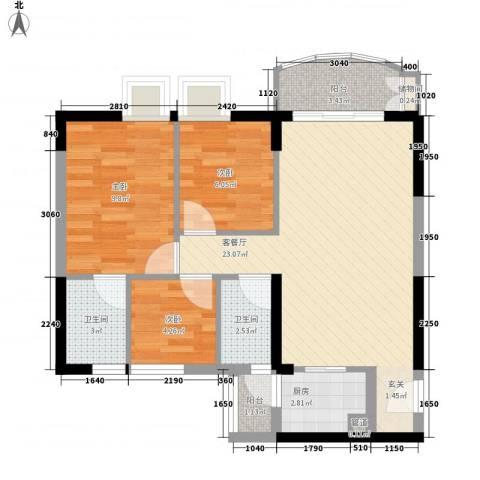 海富花园四期3室1厅2卫1厨82.00㎡户型图