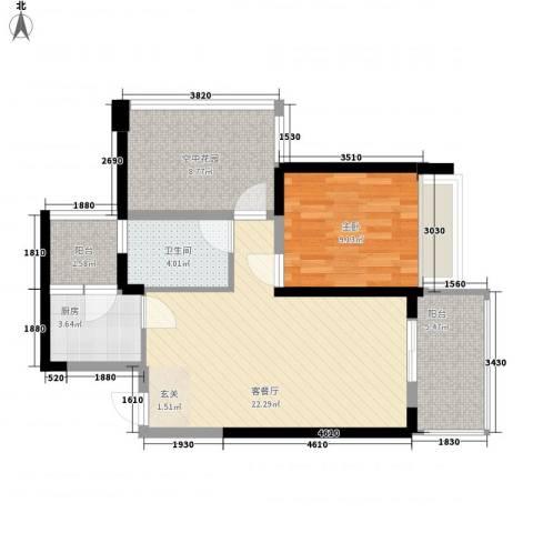 海悦湾1室1厅1卫1厨81.00㎡户型图