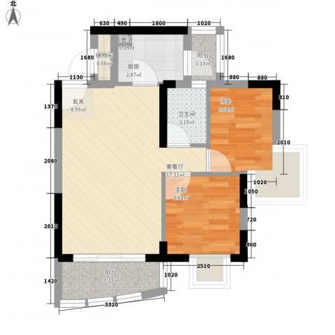 海富花园四期2室1厅1卫1厨57.00㎡户型图