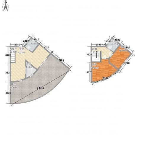 晋唐海湾2室1厅2卫1厨132.58㎡户型图