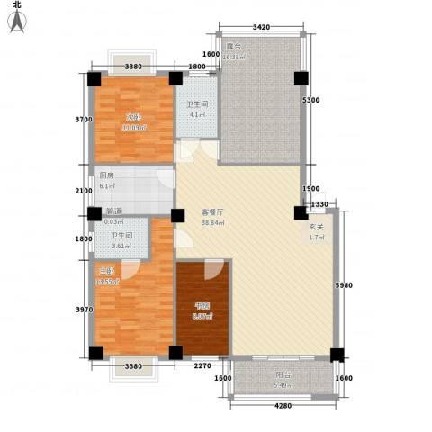 金尚风景(福满园)3室1厅2卫1厨118.00㎡户型图