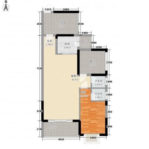 和瑞深圳青年1室1厅2卫1厨86.00㎡户型图