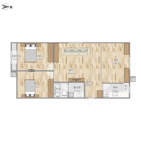 东屏园2室2厅1卫1厨91.00㎡户型图