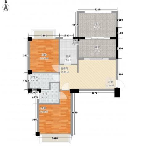 港昌新苏格兰2室1厅2卫1厨87.00㎡户型图