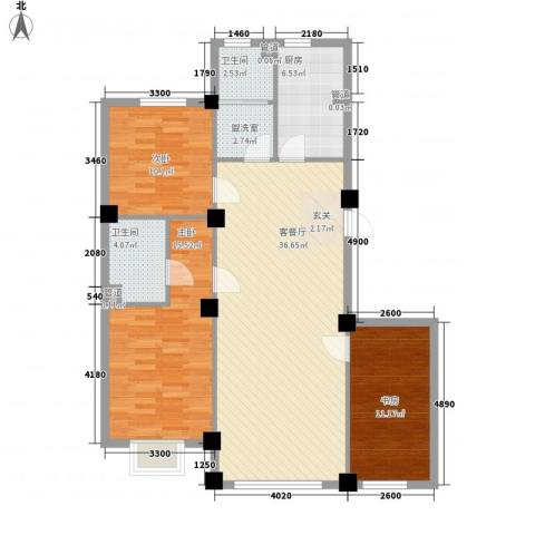 紫光碧海云天3室1厅2卫1厨125.00㎡户型图