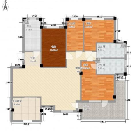 长鹭晶品缘林3室1厅2卫1厨143.00㎡户型图