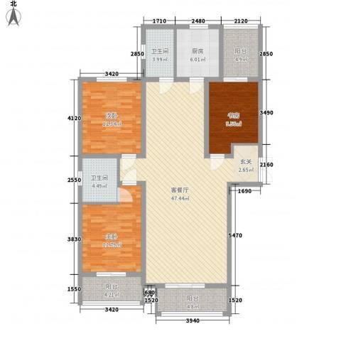 志诚雅居3室1厅2卫1厨137.00㎡户型图