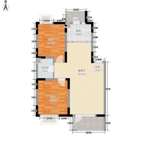保利溪湖林语三期2室1厅1卫1厨88.00㎡户型图