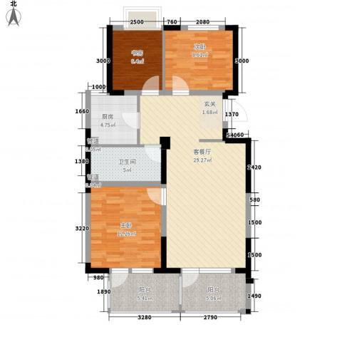 保利溪湖林语三期3室1厅1卫1厨110.00㎡户型图