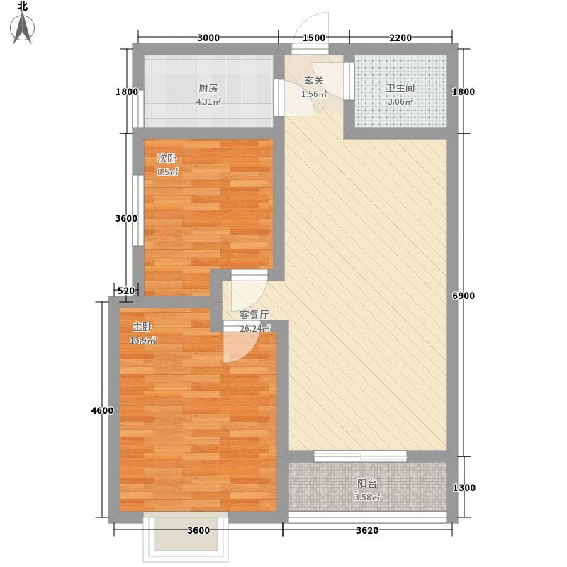 凤鸣华府二期88.74㎡二期2#楼标准层-3户型2室2厅1卫1厨