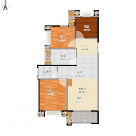 绿地海域苏河源3室1厅1卫1厨90.00㎡户型图
