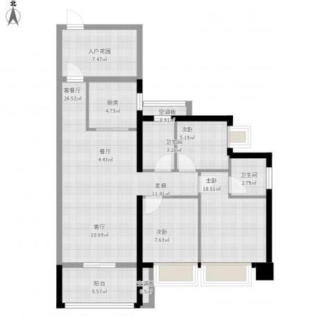 T PARK时尚公园3室1厅2卫1厨109.00㎡户型图