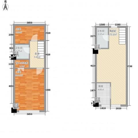 恒东幸福里2室1厅2卫1厨68.49㎡户型图