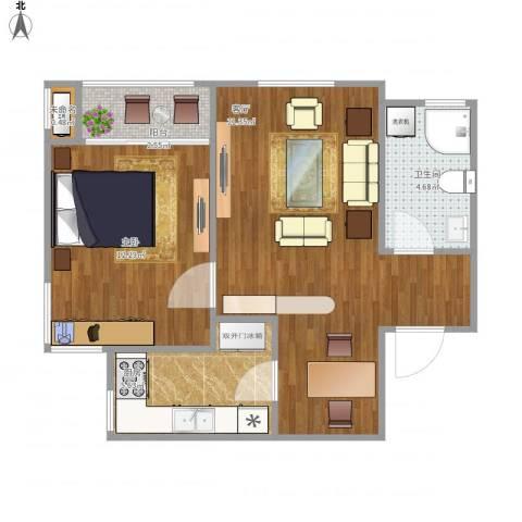 三和温泉小区1室1厅1卫1厨64.00㎡户型图