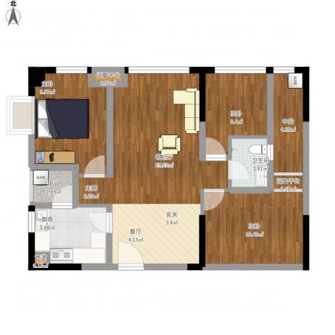 大有智慧广场3室1厅1卫1厨101.00㎡户型图