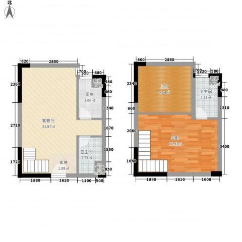 东岸公馆1室1厅2卫1厨78.00㎡户型图