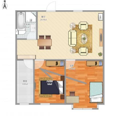 SR国际新城三期2室1厅1卫1厨73.00㎡户型图