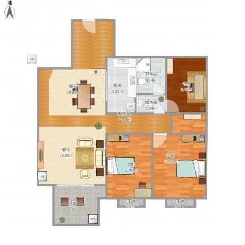 高速秋浦天地3室1厅1卫1厨133.00㎡户型图