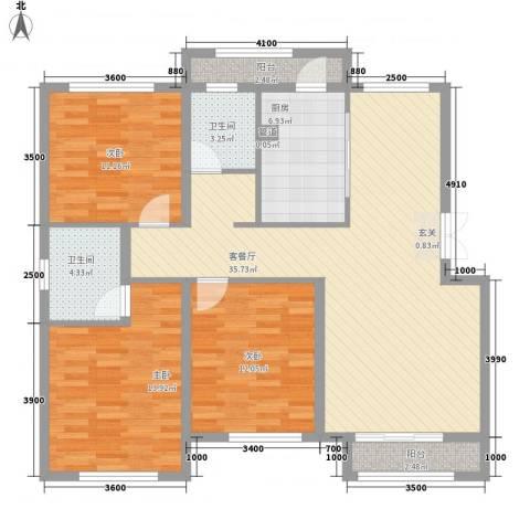 天房海天园3室1厅2卫1厨132.00㎡户型图