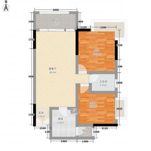 渝复新城丽都2室1厅1卫1厨65.40㎡户型图