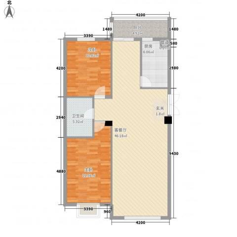 世纪花园2室1厅1卫1厨91.83㎡户型图