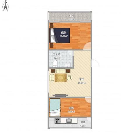 齐鲁花园2室1厅1卫1厨66.00㎡户型图