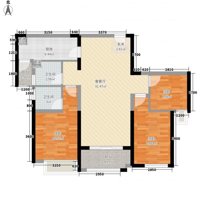 明发・高榜新城16.00㎡一期馨风雅居户型3室2厅2卫1厨
