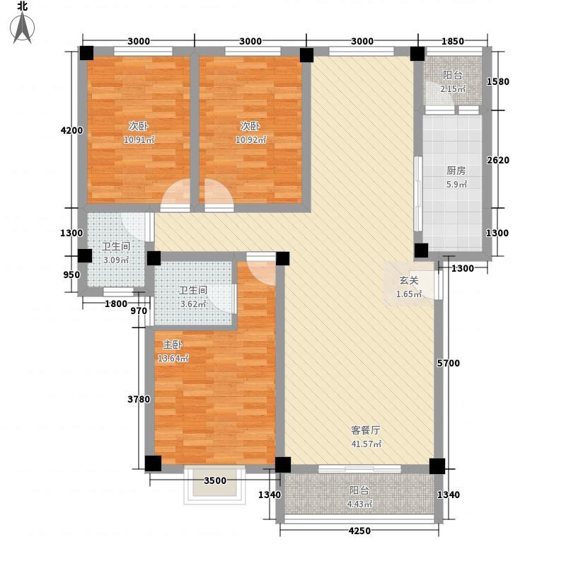 旺兴花园118.31㎡D1-1户型3室2厅1卫1厨