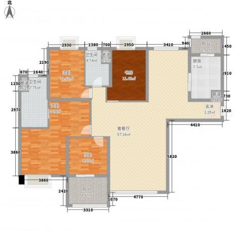 昌盛双喜城4室1厅2卫1厨141.65㎡户型图