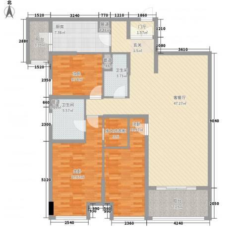 昌盛双喜城3室1厅2卫1厨158.00㎡户型图