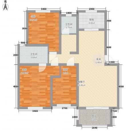临湖社区3室1厅2卫1厨95.00㎡户型图