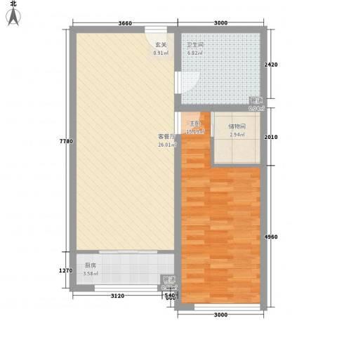 同心花园1室1厅1卫1厨78.00㎡户型图