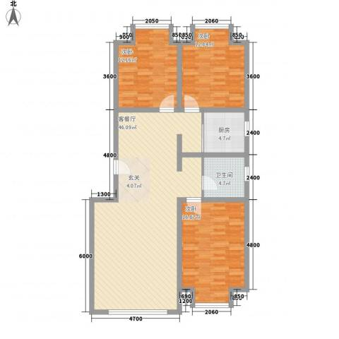 凤凰城3室1厅1卫1厨127.00㎡户型图