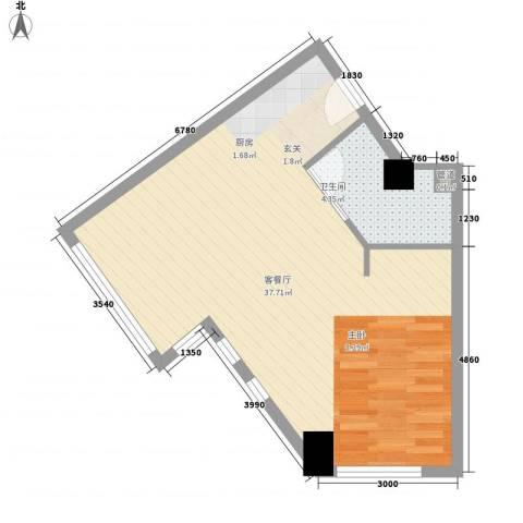 壹克拉公馆1厅1卫0厨61.00㎡户型图