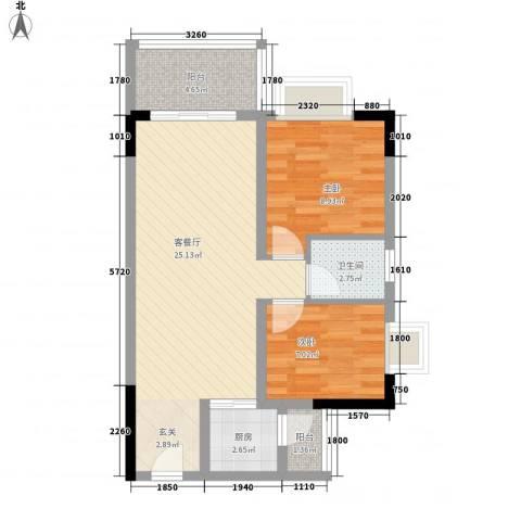 千禧嘉园2室1厅1卫1厨76.00㎡户型图
